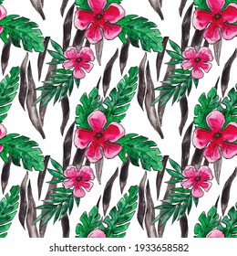 watercolor pattern with flowers, orchids and palm leaves