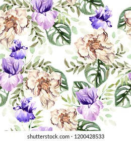 Watercolor pattern with flowers of peony and iris, tropical leaves. Illustration