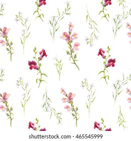 Watercolor pattern flowers, small delicate flowers on a white background, retro, flower snapdragons