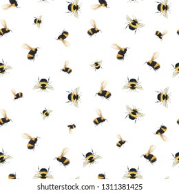 Watercolor pattern with flying bumblebee, bee on a white background