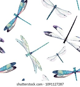 Watercolor pattern flying dragonfly, white background