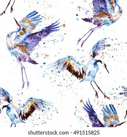 watercolor pattern with flying white birds cranes isolated on white surrounded by watercolor drops