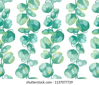 Watercolor pattern with fresh plants of  suculent.