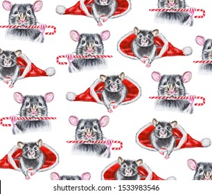 Watercolor pattern of gray rats with sweets and rats looking out of Santa Claus hat.