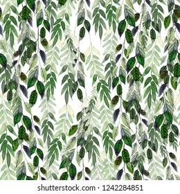 Watercolor pattern with green leaves. Hand painting. Watercolor. Seamless pattern for fabric, paper and other printing and web projects. Illustration