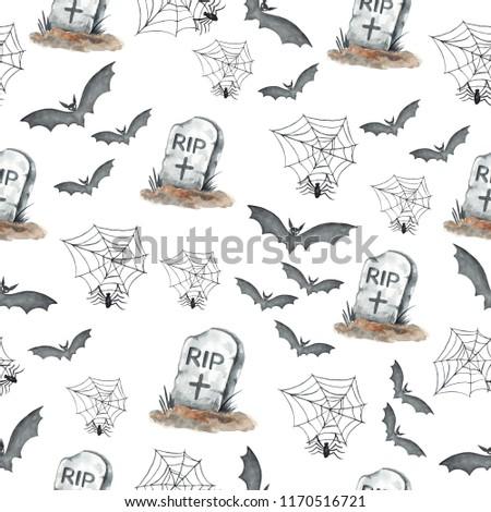 Poster: Watercolor pattern Halloween hand