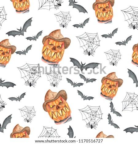 Watercolor pattern Halloween hand