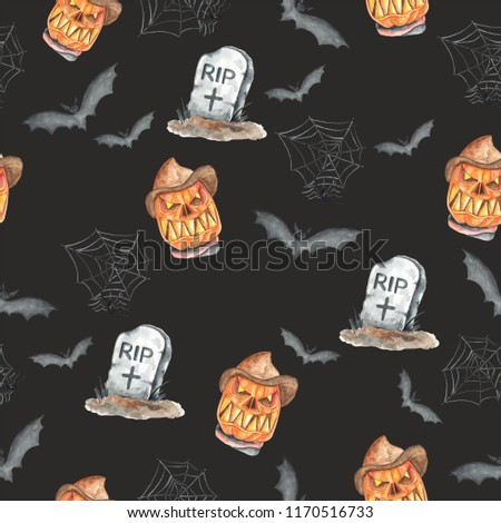 Poster: Watercolor pattern Halloween hand