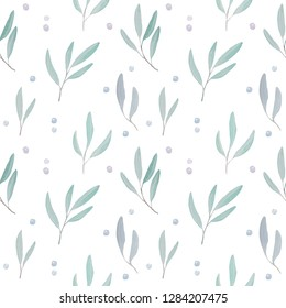 Watercolor pattern illustration of willow (osier, sallow) leaves.