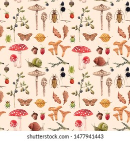 Watercolor pattern  of isolated illustrations, autumn collection, Mushrooms, berries, snail and butterfly, oak leaves and acorn/ retro wallpaper