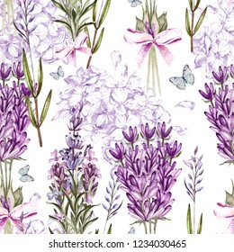 Watercolor pattern with Lavender and graphic hudrangea. Hand painting. Seamless pattern for fabric, paper and other printing and web projects. Illustration