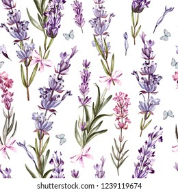 Watercolor pattern with Lavender. Hand painting. Watercolor.Illustration