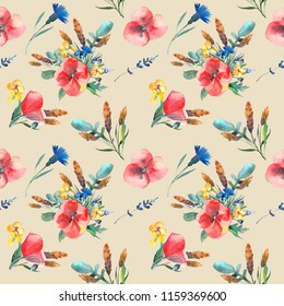 Watercolor pattern of leaves, herbs, flowers, poppies, buttercups, spikelets. Illustration isolated on white background. Template for T-shirt, decor, greeting card, poster or photo overlay