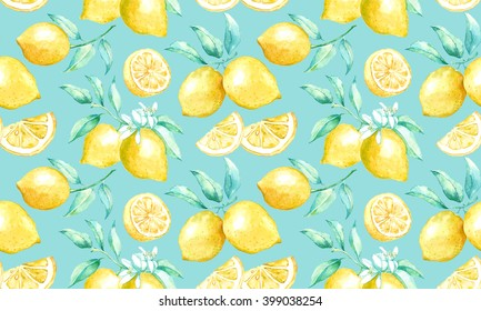 Watercolor pattern with lemons.Seamless background with yellow lemons.