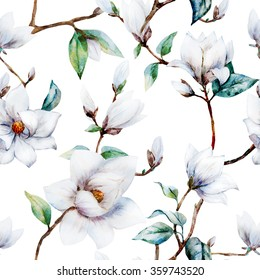 watercolor pattern magnolia flowers, white magnolia, seamless vintage pattern