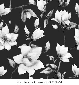 watercolor pattern magnolia flowers, white magnolia, simple seamless pattern monochrome floral wallpaper