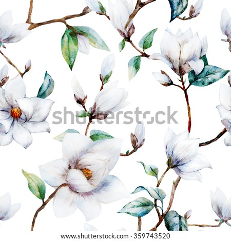 watercolor pattern magnolia flowers white magnoliaのイラスト素材