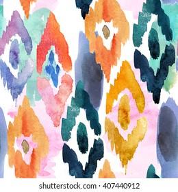 watercolor pattern of ornamental elements