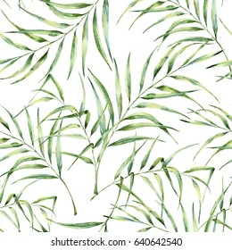 Watercolor pattern with palm tree leaves. Hand painted exotic greenery branch. Botanical illustration. For design, print or background.