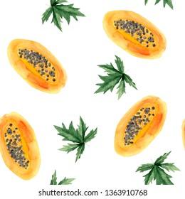 watercolor pattern with papaya, papaya piece, papaya leaves