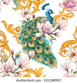 Watercolor pattern with peacock bird, pink magnolia and golden rococo patterns. Spring print with a bird