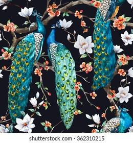 watercolor pattern peacock lover, blooming cherry trees, white magnolia flowers, small flowers of sakura, retro wallpapers dark background, vintage