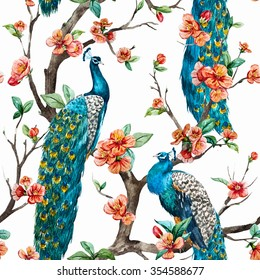watercolor pattern peacock on a tree cherry, flowering trees