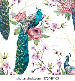 watercolor pattern peacock on a tree cherry, flowering trees. protea flower, tree branches. pink chrysanthemum
