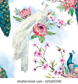 watercolor pattern peacock on a tree cherry, flowering trees. protea flower, retro colors. tree branches. pink chrysanthemum. White background