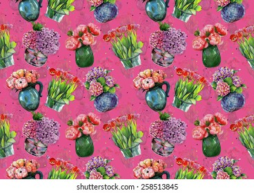 """Watercolor pattern """"Peonies, hydrangeas and tulips in vases"""" on pink background"""