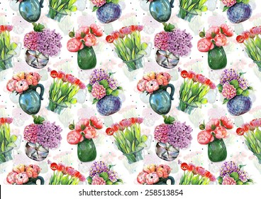 "Watercolor pattern ""Peonies, hydrangeas and tulips in vases"" on white background"