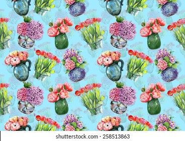 "Watercolor pattern ""Peonies, hydrangeas and tulips in vases"" on  light blue background"