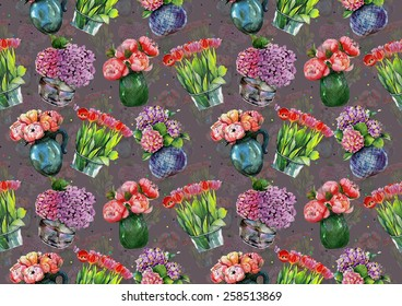 """Watercolor pattern """"Peonies, hydrangeas and tulips in vases"""" on grey background"""