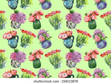 "Watercolor pattern ""Peonies, hydrangeas and tulips in vases"" on light mint green background"