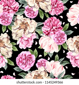 Watercolor pattern with peony flowers. Illustration