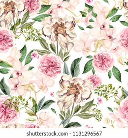 Watercolor pattern with peony flowers and orchids. Illustration