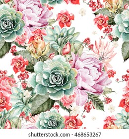 Watercolor pattern with peony flowers , roses , succulents and currant berries . Illustration.