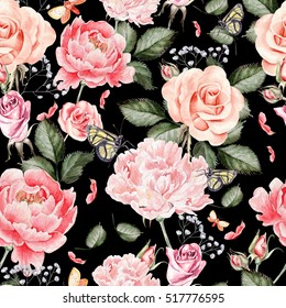 Watercolor pattern with peony flowers, roses and wild flowers. Illustration