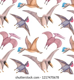Watercolor pattern. The picture shows four dinosaurs belonging to defferent species. Pterosaur and pteranodon. Illustration made in begie, purple and violet colors.