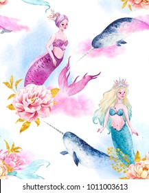 Watercolor pattern with pink and blue mermaids, fish, narwhal, watercolor clouds and peony flowers with gold leaves, unicorn-fish