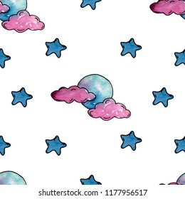 watercolor pattern pink clouds, moon and blu star