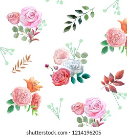 Watercolor pattern with pink roses,mint berries,orange lily,red and green leaves.
