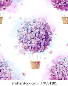 Watercolor pattern with purple  aerostat balloon flowers, hydrangeas  lilac ball, watercolor stains and delicate flying butterfly