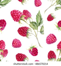watercolor pattern raspberries, raspberry branch, white background