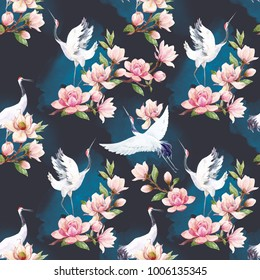Watercolor pattern Red Heads Crane.   Japanese traditional motif, Branch of Magnolia flowers and bird. the dark background