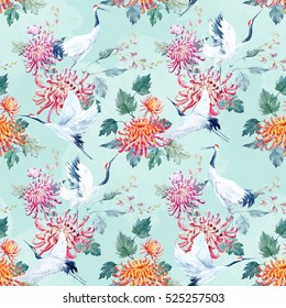 Watercolor pattern Red Heads Crane. chrysanthemum flowers.  Asian traditional motif. blue background