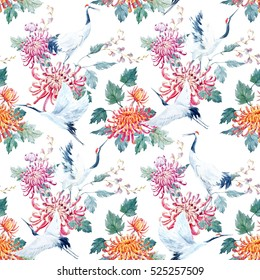 Watercolor pattern Red Heads Crane. chrysanthemum flowers. a Japanese traditional motif