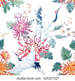 Watercolor pattern Red Heads Crane. chrysanthemum flowers. Asian traditional motif