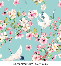Watercolor pattern Red Heads Crane.  blooming branch of cherry. blooming apple tree. a Japanese traditional motif . blue background