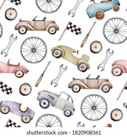 Watercolor pattern with retro cars.Car toy.Retro transport.Wallpaper,wrapping paper design.Seamless pattern for little boy